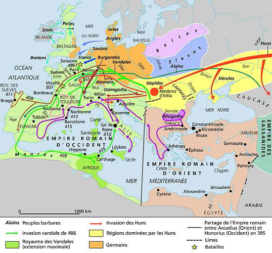 Carte des migrations barbares